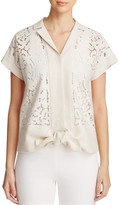 Lafayette 148 New York Hand Embroidered Tie-Front Blouse