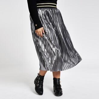 River Island Womens Plus Silver metallic pleated midi skirt