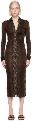 Versace Brown Python Print Shirt Dress