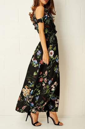 Frontrow Black-Floral Maxi Dress