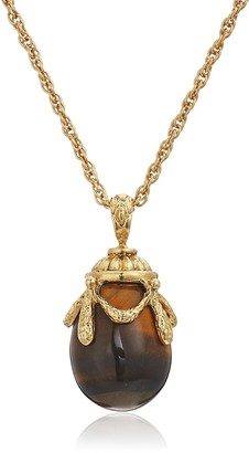 1928 Jewelry 14k Gold Dipped Semi Precious Gemstone Tiger's Eye Egg Pendant Necklace 30""