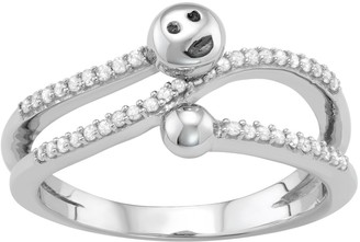 Sterling Silver 1/5 Carat T.W. Diamond Bypass Smiley Face Ring