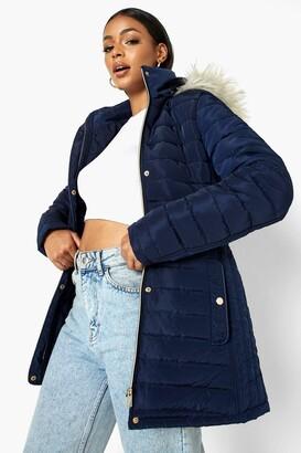 boohoo Faux Fur Trim Hooded Belted Puffer Coat