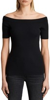 AllSaints Lavine Off-the-Shoulder Short Sleeve Top