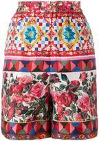 Dolce & Gabbana floral print pyjama shorts - women - Silk - 42