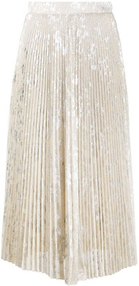 Blumarine Metallic Pleated Skirt