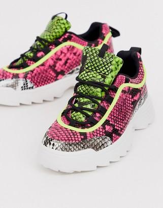 Qupid neon snake print chunky sneaker