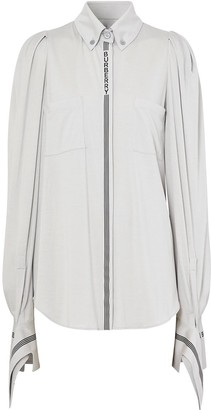 Burberry Stripe And Logo-Trimmed Shirt