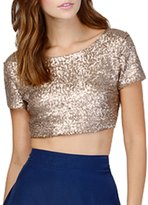 Difyou Women's Sequins Backless Pullover Crop Top T-Shirt