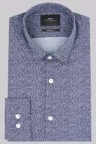 Moss Bros Extra Slim Fit Blue Print Casual Shirt