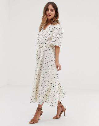 Stevie May Estelle midi dress in cross print-Cream