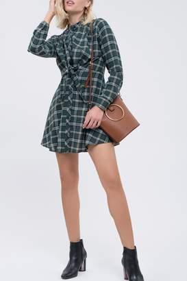 Blu Pepper Plaid Front Twist Shirt Dress
