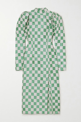 Rotate by Birger Christensen Theresa Checked Jacquard Midi Dress - Green