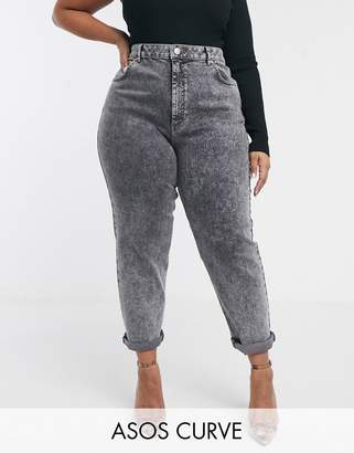 Asos DESIGN Curve Farleigh high waisted slim mom jeans in black acid wash