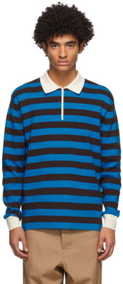 Sunnei Blue and Black Striped Long Sleeve Polo