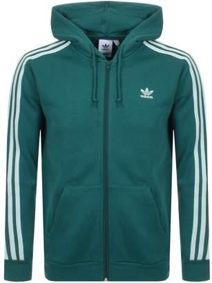 adidas 3 Stripes Full Zip Hoodie Green