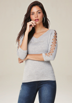 Bebe Heathered O-Ring Sleeve Top