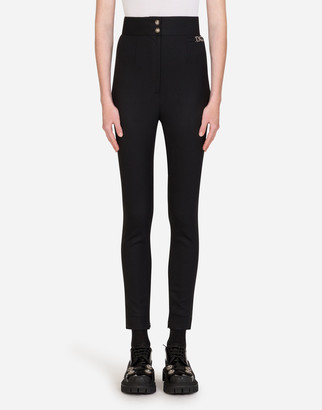 Dolce & Gabbana High-Waisted Wool Twill Leggings With Detail