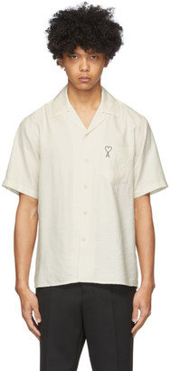 Ami Alexandre Mattiussi Off-White Embroidered Ami De Coeur Short Sleeve Shirt