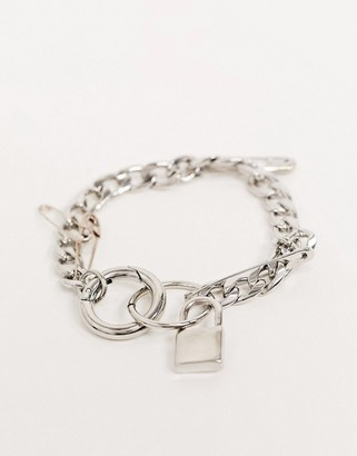 Asos Design DESIGN bracelet with padlock and safety pins in silver tone