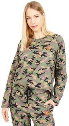 Nicole Miller Camo Crew Neck Sweatshirt (Blush Camo) Women's Clothing