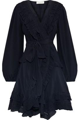 Zimmermann Moncur Frill Lace-trimmed Silk-gauze Mini Wrap Dress