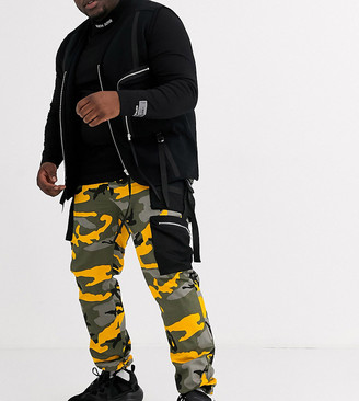 Sixth June camo cargo with black pockets in yellow