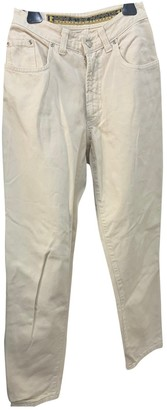 Trussardi White Cotton Trousers for Women Vintage