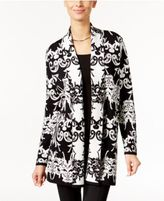 Alfani Petite Scroll-Pattern Open-Front Cardigan, Only at Macy's