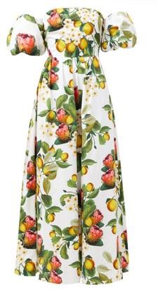 Borgo de Nor Juliet Off-the-shoulder Lemon-print Cotton Dress - Yellow White