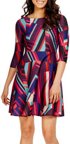 Donna Morgan Print Scuba Fit & Flare Dress