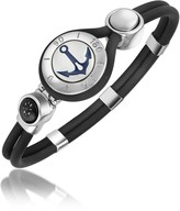 Forzieri Anchor & Compass Stainless Steel and Rubber Bracelet