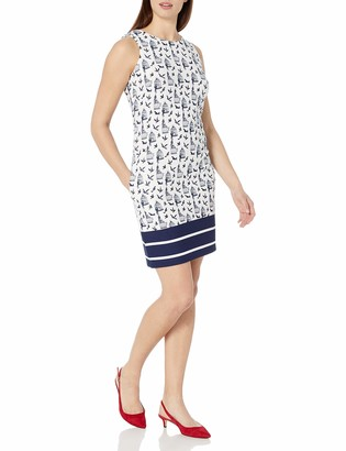 Julian Taylor Women's Sleeveless Bird Cage Printed Shift Dress