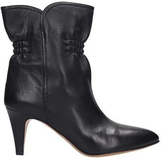 Isabel Marant Dedie High Heels Ankle Boots In Black Leather