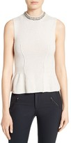 Rebecca Taylor Women's Embellished Neck Peplum Sweater