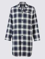 Marks and Spencer Pure Brushed Cotton Checked Nightshirt