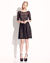 Betsey Johnson Elbow Sleeve Lace Overlay Dress