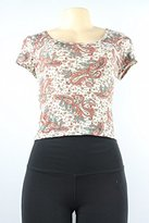 American Rag Womens Cropped Paisley Pullover Top Tan M