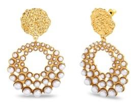 Catherine Malandrino Women's Gold-Tone Hammered Disc Imitation Pearl Drop Earrings