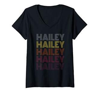 Womens Graphic 365 First Name Hailey Retro Pattern Vintage Style V-Neck T-Shirt