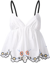See by Chloe floral trim babydoll top - women - Cotton - 38