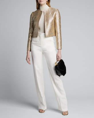 Kiton Metallic Tweed Open-Front Crop Jacket