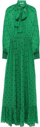 MSGM Pussy-bow Polka-dot Silk-chiffon Maxi Dress