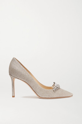 Jimmy Choo Romy 85 Crystal-embellished Glittered Leather Pumps - Silver