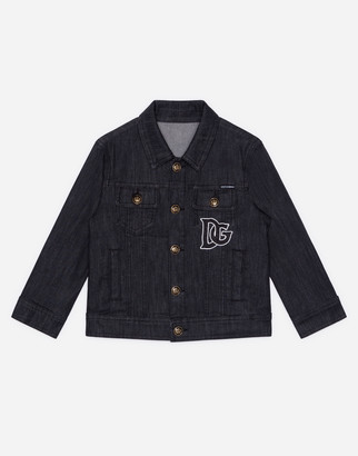 Dolce & Gabbana Jacket In Stretch Black Denim With Patch