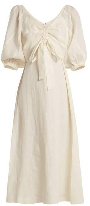 Zimmermann Painted Heart V Neck Gathered Linen Midi Dress - Womens - Cream