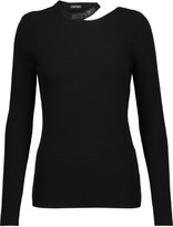 Tom Ford Leather-trimmed cutout wool-blend sweater