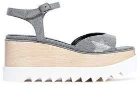 Stella McCartney Elyse Metallic-trimmed Denim Platform Sandals