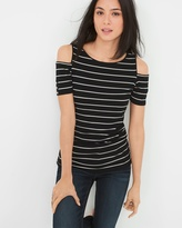 White House Black Market Cold-Shoulder Striped Top