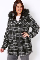 Yours Clothing Black & White Check Boucle Coat With Faux Fur Trim Hood